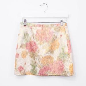 H&M Gold Shimmer Floral Mini Skirt Pink Cream 8